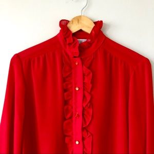 3/$20 Vintage stand up ruffle red button down
